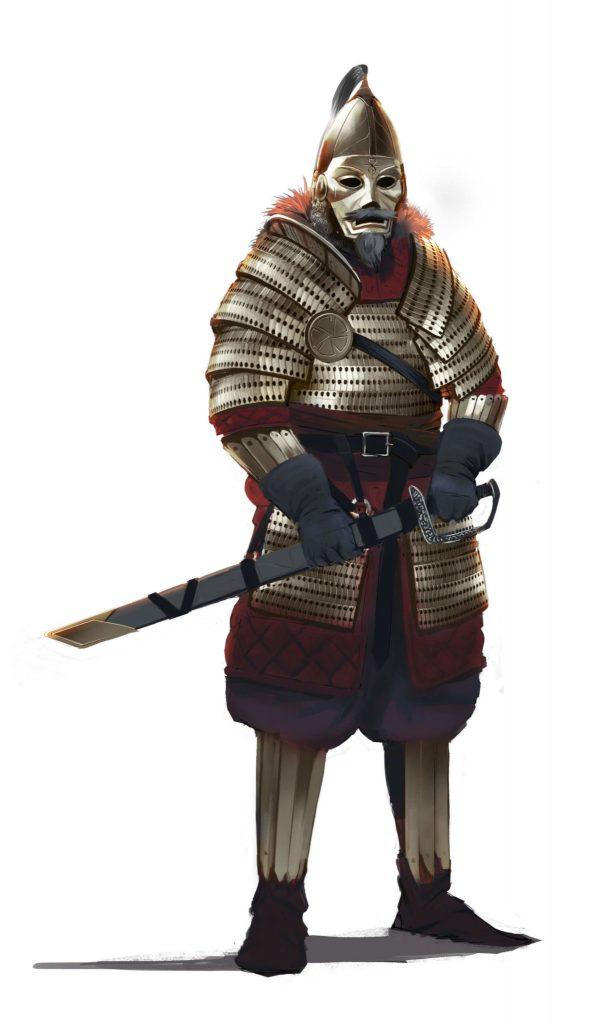 Plemiona - żołnierz w pełnym rynsztunku