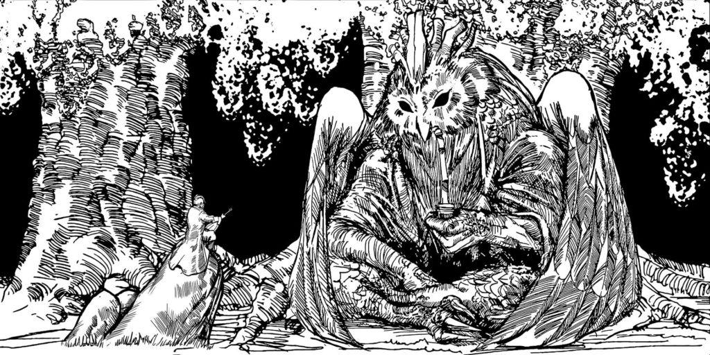 Plemiona: Guślarz i Puszczyk. Ilustracja znajdująca się na koszulce obozowej.