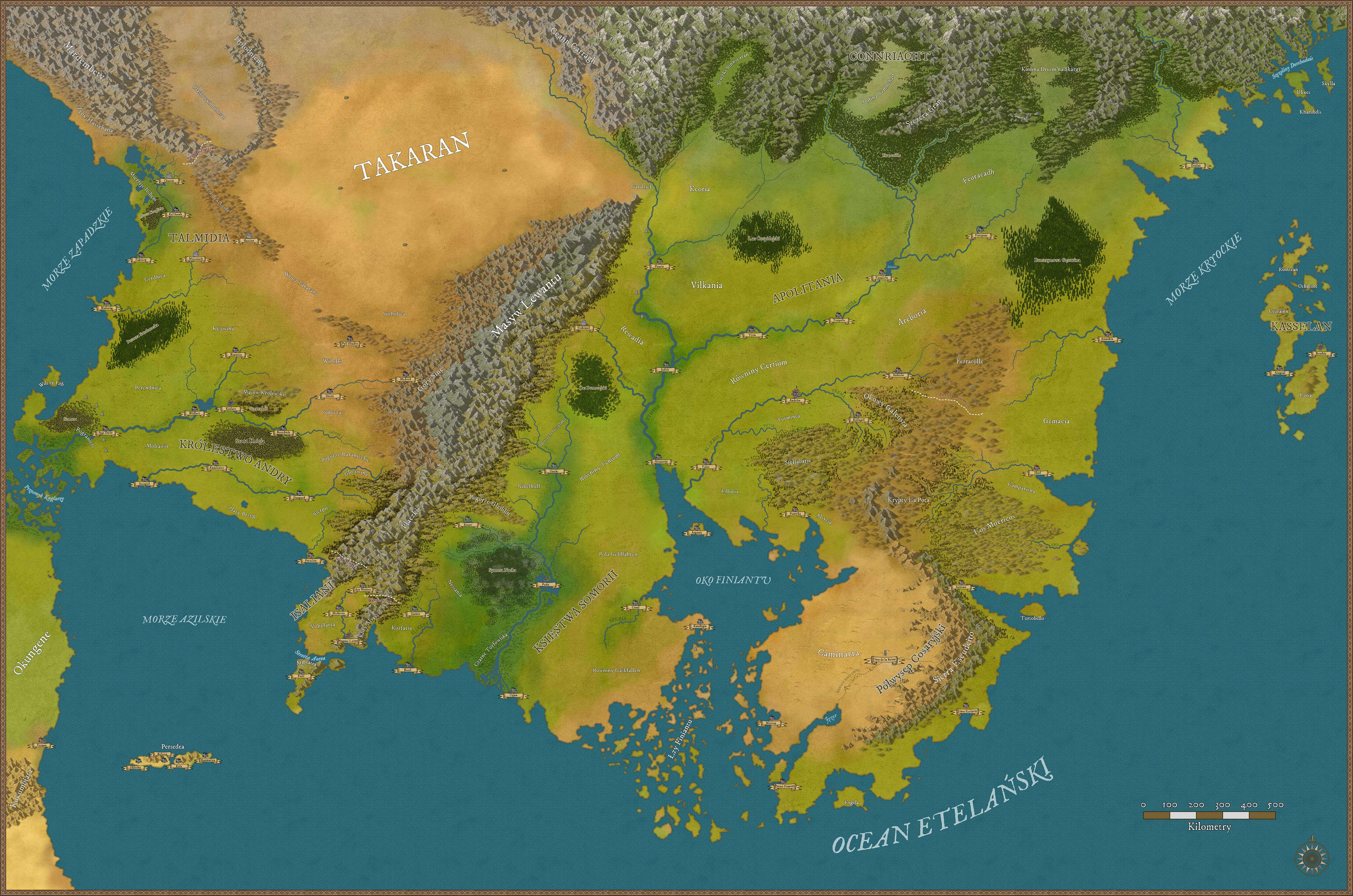 Mapa kontynentów Finewyr oraz Aretai, a także fragmentu archipelagów Kasselan i Wenguo