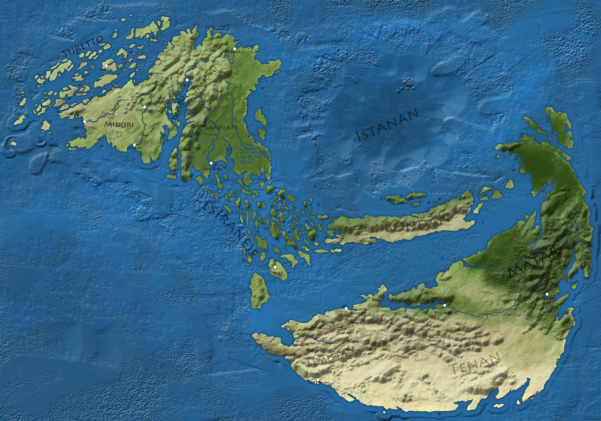 Mapa archipelagu Wneguo na północnym zachodzie i kontynentu Intisar na południowym wschodzie oraz łączącego ich archipelagu Esiraneje